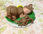 Monkey Baby Cake Toppers/Edible Vanilla Fondant/BABY SHOWER/Special Decorations/Cake Supplies