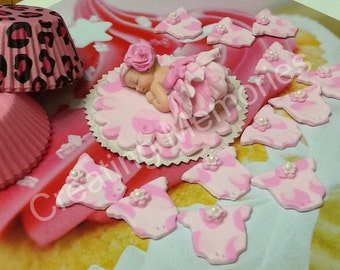 Baby in a Pink Cheetah Tutu Set/ Edible Cake Topper/girl cake topper/First baby boy/girl birthday cake topper, Cake Supplies and Decorations