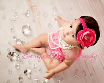 Baby Flower Headband..Baby Girl Headband..Newborn Headband..Hot Pink Flower Headband..Newborn/Baby/Toddler/Girl/Baby Headband