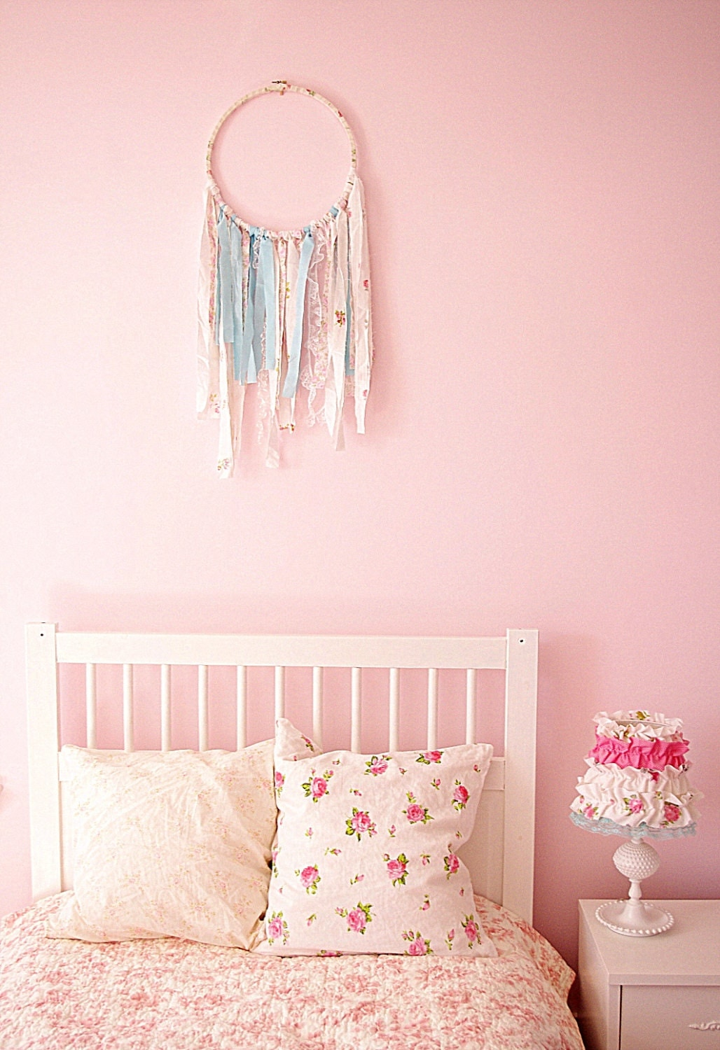shabby chic dream catcher nursery hoop art shabby chic. Black Bedroom Furniture Sets. Home Design Ideas