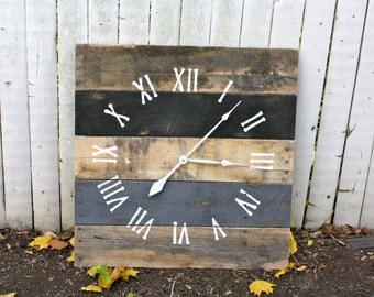 Large Reclaimed Wood Clock. Modern Meets Rustic.  Black and Slate Gray.  Great Gift Idea.