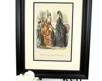 1800s Victorian fashion illustration plate Geubaud & Fils of Paris 1872 mother and child in mourning