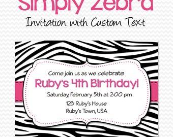 Bachelorette Party Invitation, Birthday Invite, Bridal Shower Invitation, Black and White Zebra Print with Hot Pink -- DIY Printable File