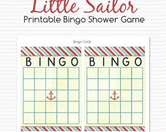 Nautical Baby Shower Bingo Card, Printable Shower Game, Party Game, Baby Boy Theme, Little Sailor, Anchor -- Instant Download