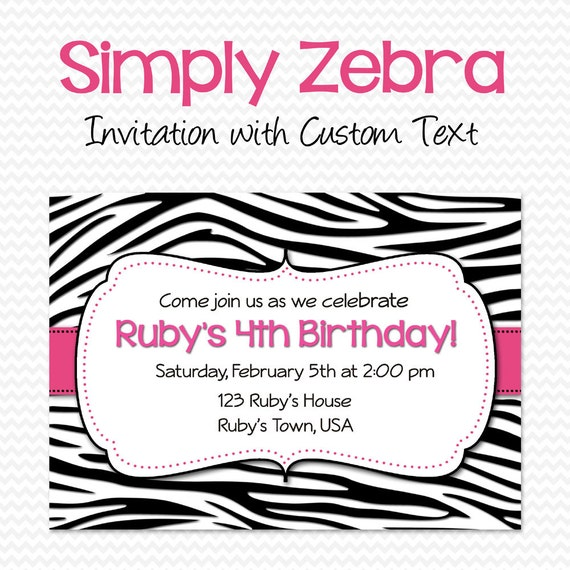 Bachelorette Party Invitation, Birthday Invite, Bridal Shower Invitation, Black and White Zebra Print with Hot Pink -- DIY Printable File