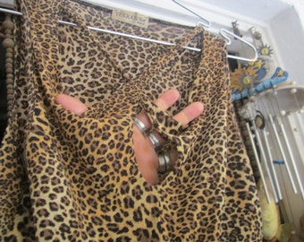 Italian Fenestrated X Shaped Necckline Leopard Tank Top, Vintage - Medium to Large