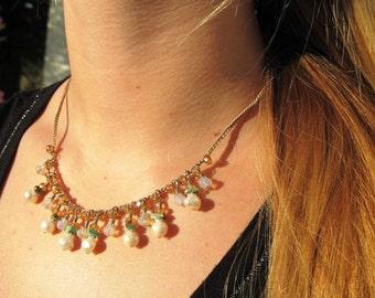 Turquoise Pearl Drop Dangle Necklace, Gypsy Bohemian Crochet Jewelry