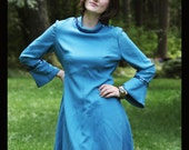 60s TURQUOISE Teal Go Go MOD Party Dress with Sequins, Medium