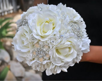 Jeweled Crystal Rose Bouquet - Wedding Bouquet - Bridal Bouquet - Brooch Bouquet