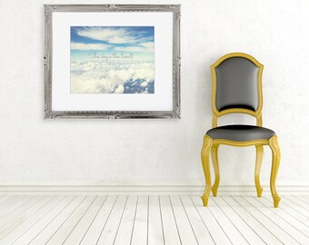 the sky's the limit typography photo fine art photography cloud photograph blue white yellow wall decor motivational quote flying