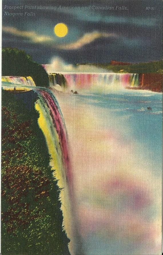 Vintage Linen Postcard - Illuminated Canadian and American Falls, Niagara Falls - 1930s - 1940s
