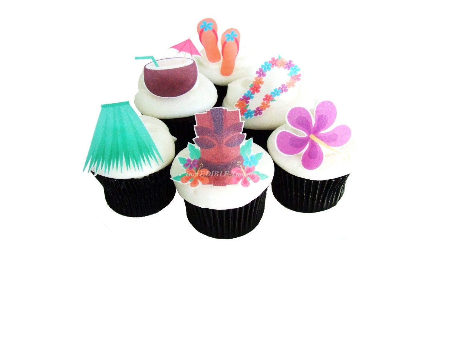 LUAU HAWAIIAN Party Edible Cupcake Toppers by ...
