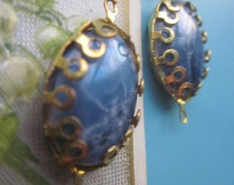 Vintage Lapis Blue Glass Cabochon  Connector