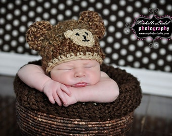 Crochet  Bear Hat Baby Boy Hat and Photography Prop Ready Item