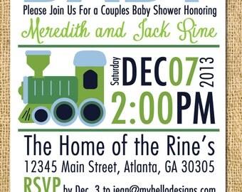 Printable Train Shower Invitation - Train Invite DIY - train choo choo invitation shower baby birthday party child children