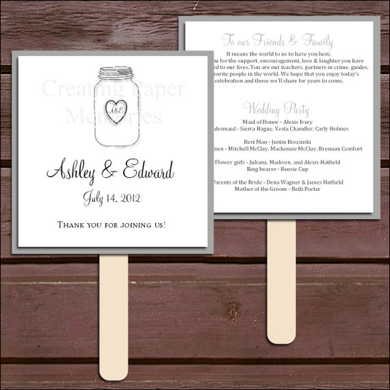 Mason Jar Program Fans Kit Printing Included Wedding