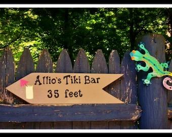 CUSTOM TIKI BAR Sign, Pool Sign, Tiki Bar Sign, Hand Painted Bar Sign, Custom Pool Sign, Pool House Sign, Outdoor Sign, Backyard Sign