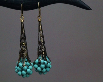 Azulitos! EarringsTurquoise beaded filigree(unique,ligth blue,ladies,patined,art deco,brass)by ISLA bijoux et accessoires FRANCE