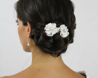 Ivory Lace Hair Sticks for Bridal Updo - Lace and Pearls Wedding Hair Sticks - Ivory Lace Flower Hair Sticks