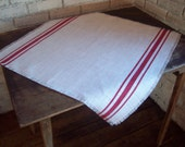 Burlap Table Square 24 x 24 with Hand Painted Grain Sack Stripes - Table Overlay - More Colors Available - Holiday Table Decor