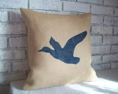 Duck Pillow Cover - Flying Duck Pillow - Burlap Pillow - Rustic Cabin Decor - Choose Size and Colors - Burlap Duck Pillow - Lodge Pillow
