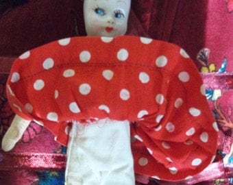 Composition Doll: Vintage Side Glancing Composition Doll, Padded Body, Lenci Style Head, 3 Wigs