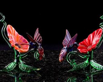 Glass Hummingbird and Flower on 3-Leaf Base
