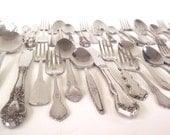 Cottage Chic Stainless Silverware Set Mismatched Flatware Service for 12, 8, 4, Single Place Settings, or Steak Knives (Oneida, etc)