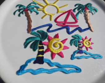 Tropical Appliques Supplies Trim Beach Summer Sun Water Sailboat Palm Trees (18)