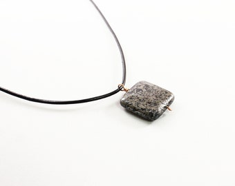 Stone pendant necklace for men: pyrite jewelry for him, genuine leather mens necklace, square stone jewelry for men, male, gray