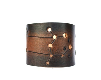 Leather cuff Gemini constellation