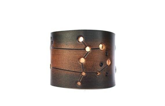 Leather cuff Gemini constellation