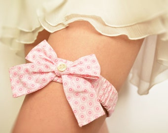 Floral pale pink cotton bridal garter