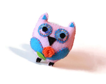 Pink felted owl - ornament or home decor