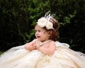 Baby Headband - Toddler Headband - Flower Girl Headband - Rose Headband - Ivory Rose Headband - Feather Headband - Rhinestone Baby Headband