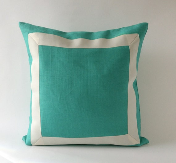 Decorative Throw Pillow Cover Mint Green Linen Pillow Cover