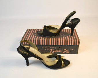 1940s/1950s Black and Clear Peep Toe Size 7 1/2, 38 Heels, Pumps, Slingbacks by Dream Step