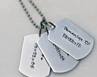 Hand Stamped Mens Dog Tag Necklace -  Hand Stamped Jewelry - Personalized Necklace