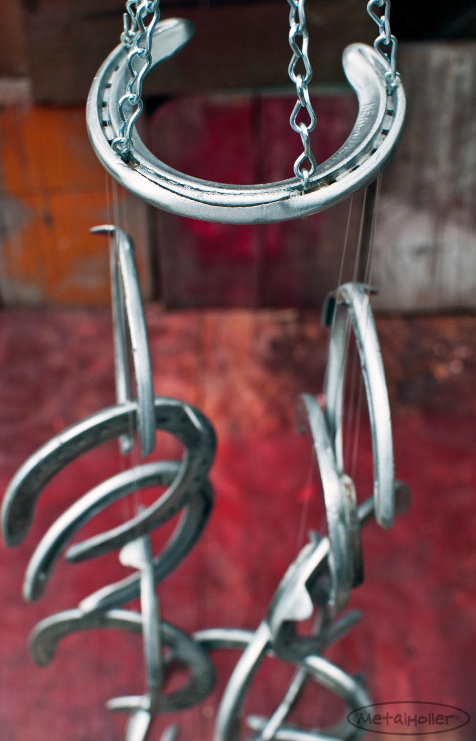 recycled race horseshoe wind chime aluminum horse by