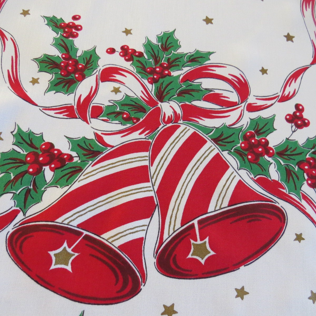 Vintage Christmas Table Runner Christmas Bells Holly Ribbon