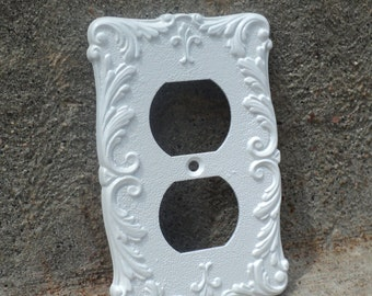 ORNATE Vintage Outlet Cover White French Provincial Metal Wall Hanging Luxe Baroque