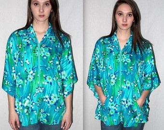 Vintage 60s Beach Swim Cover Up / Hawaiian Tropical Mod Retro Tunic Boho Cape Mini Caftan Barkcloth style Floral Print Zip Front / S M L