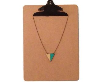 Teal colorblock triangle necklace, geometric necklace, short triangle necklace, statement geometric necklace, leather necklace