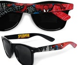 Spiderman Sunglasses - Wayfarer style sunglasses Spiderman comic unique hand painted - red - black