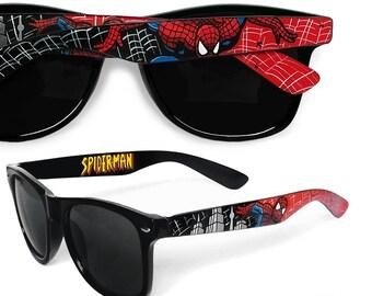 Spiderman hand painted glasses - unique Wayfarer style sunglasses Spiderman comic - red - black gift for boyfriend