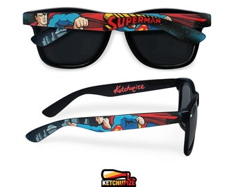 Superman custom Wayfarer sunglasses unique birthday gift for her gift for him men women painted comic geek superhero Daily planet Ketchupize