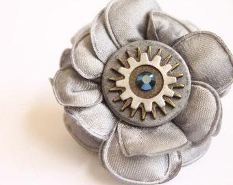 Adjustable Silver Gray Fabric Flower Steampunk Ring w/ Silver & Copper Metal Gears And Blue Swarovski Gem