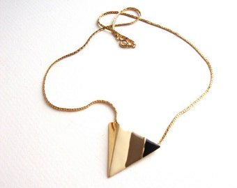 Vintage Triangle Necklace With White, Brown, & Black Enamel Stripes
