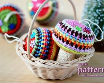 Crochet Pattern - Happy Crochet Mushroom Ornaments (Pattern No. 015) - INSTANT DIGITAL DOWNLOAD