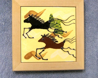Wild Horses or Cave Painting Horse Pottery Ceramic Tile / Trivet